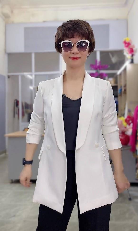 áo vest nữ cổ sam dáng dài suông eo mặc đẹp thời trang thủy hải phòng