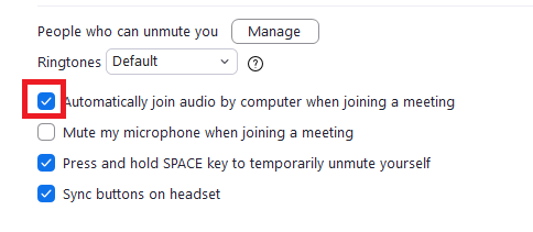 """chọn vào checkbox """"Automatically join audio by computer when joining a meeting"""""""
