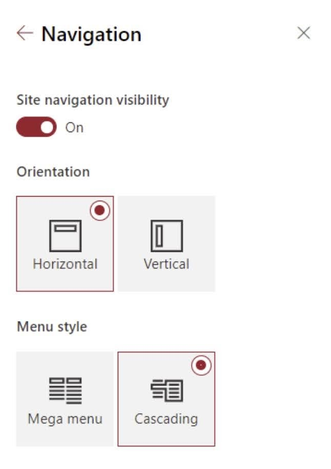 The Mega menu style is only available for the horizontal orientation.