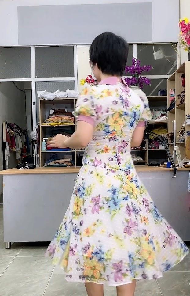 váy xòe midi công sở nữ mặc đẹp thời trang thủy kiến an