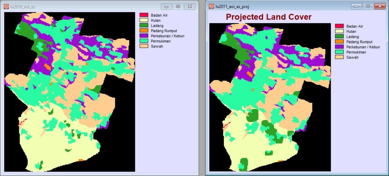 Penutupan lahan 2016 asli dan proyeksi