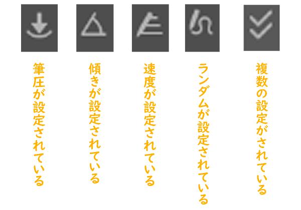 クリスタのブラシサイズ影響元設定アイコンの種類