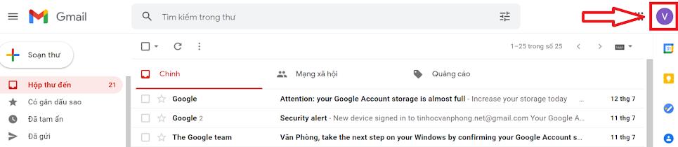 đăng xuất gmail
