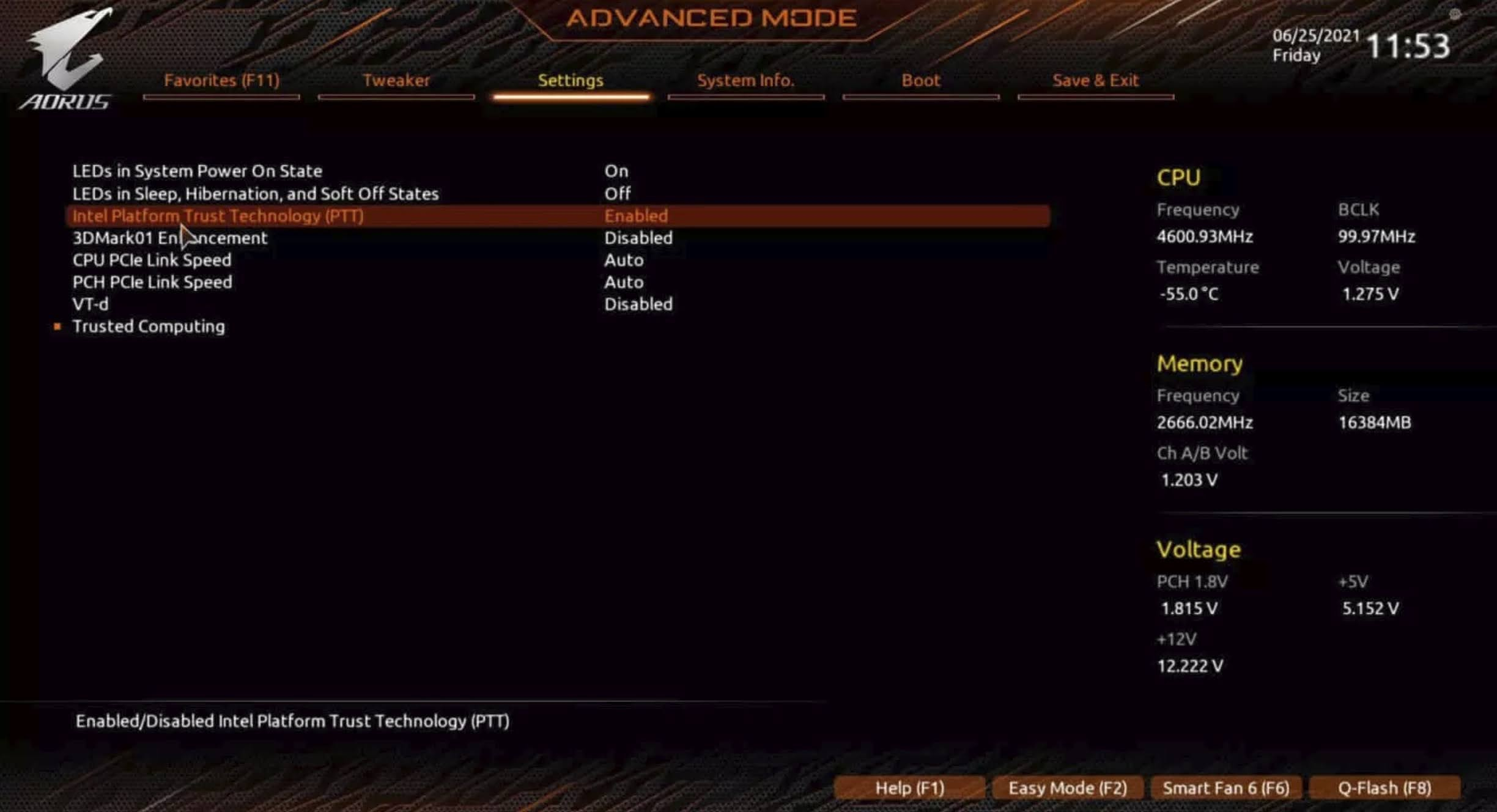Enable TPM 2.0 for GIGABYTE motherboard using AORUS: For Intel processor, locate Intel Platform Trust Technology (PTT) option and select Enable from the drop-down menu.