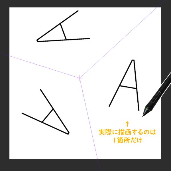 クリスタ対称定規を利用した描画