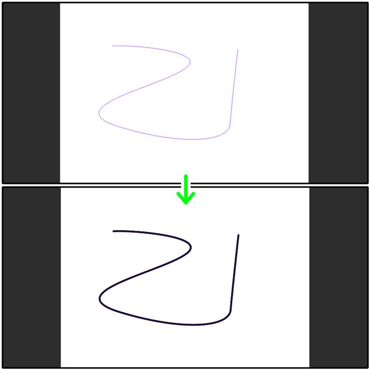 クリスタ「定規に沿って描画」の描画結果