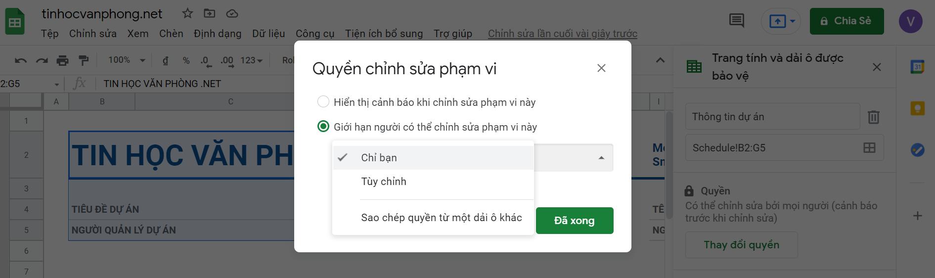 hướng dẫn khóa ô trong google sheets