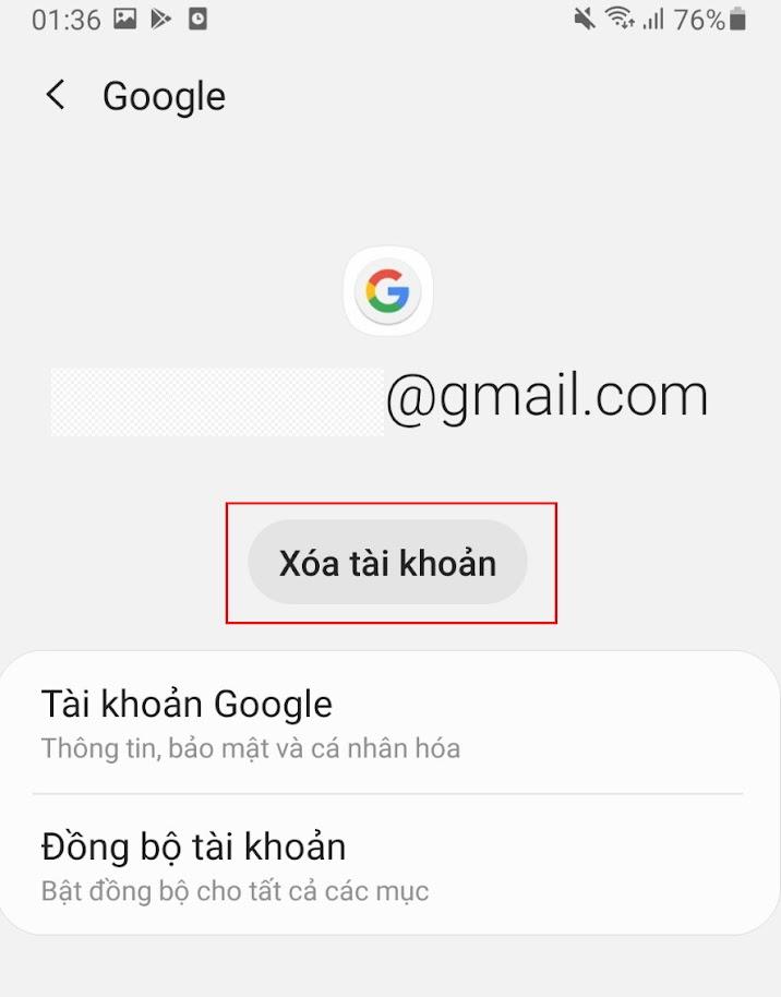 hướng dẫn cách xóa bớt tài khoản gmail trên android