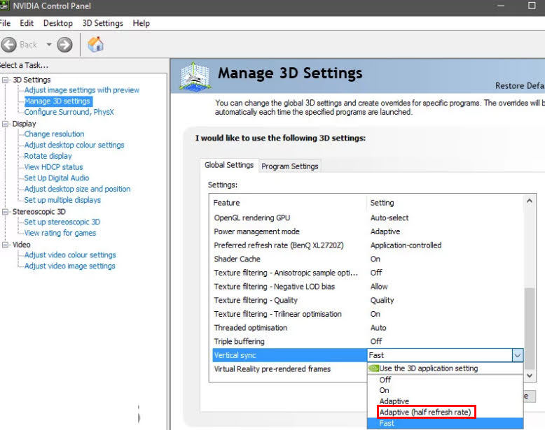 Go to the Vertical sync setting and select the Adaptive Half Refresh Rate option from the list.