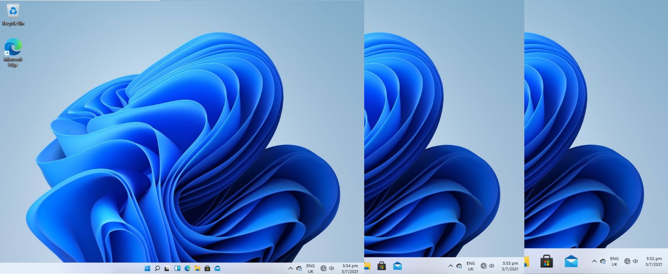 Difference between the 3 taskbar sizes from small, medium to large. Medium is the default taskbar size.
