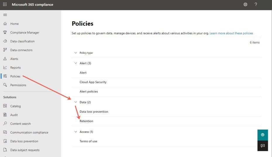 Expand Data and click on the Retention option.