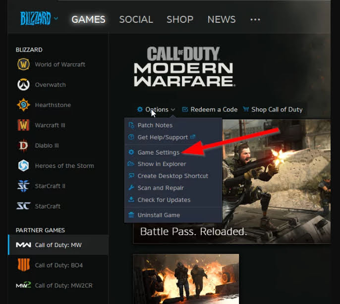 Click on the Game Settings.