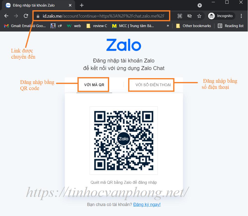 Trang đăng nhập của Zalo trên web