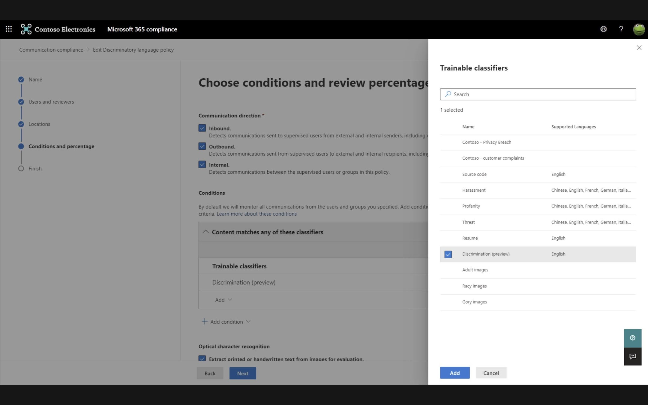 You can select this classifier as a condition for matching content in Microsoft Teams chat or emails, for instance, in both new or existing Communication Compliance policies.