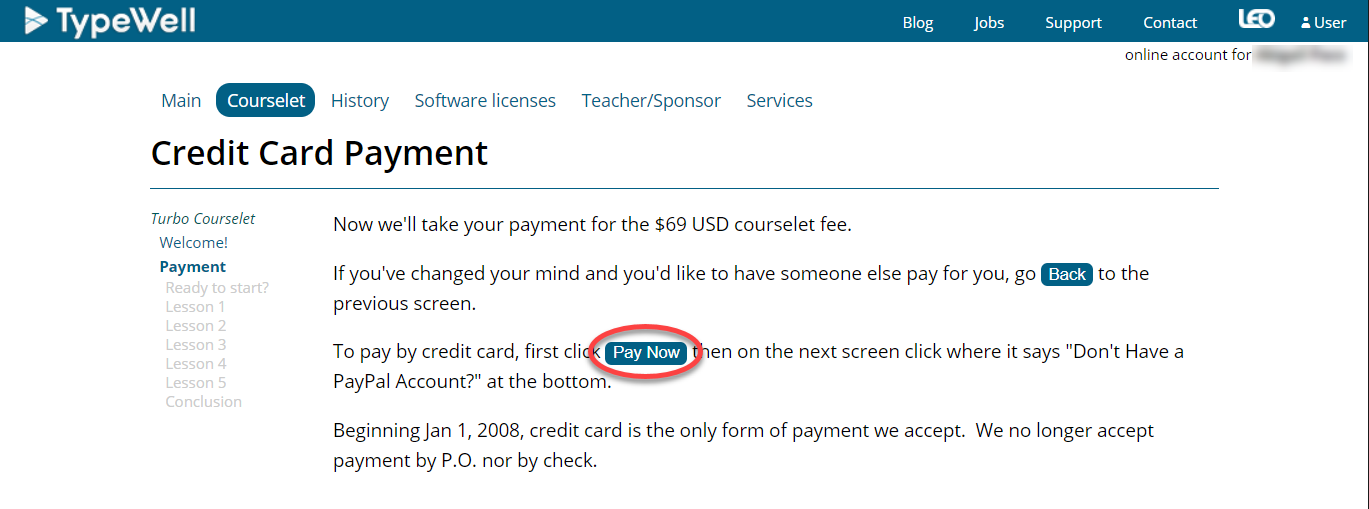 screenshot of credit card payment page