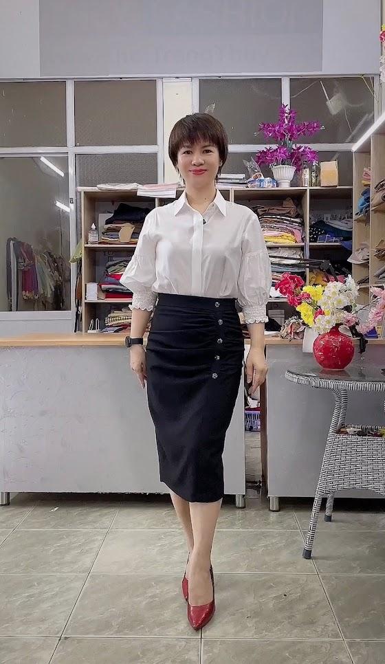 chân váy bút chì che bụng áo sơ mi nữ công sở thời trang thủy hà nội