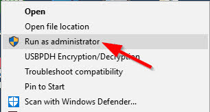 Select Run as Administrator option from the context menu.