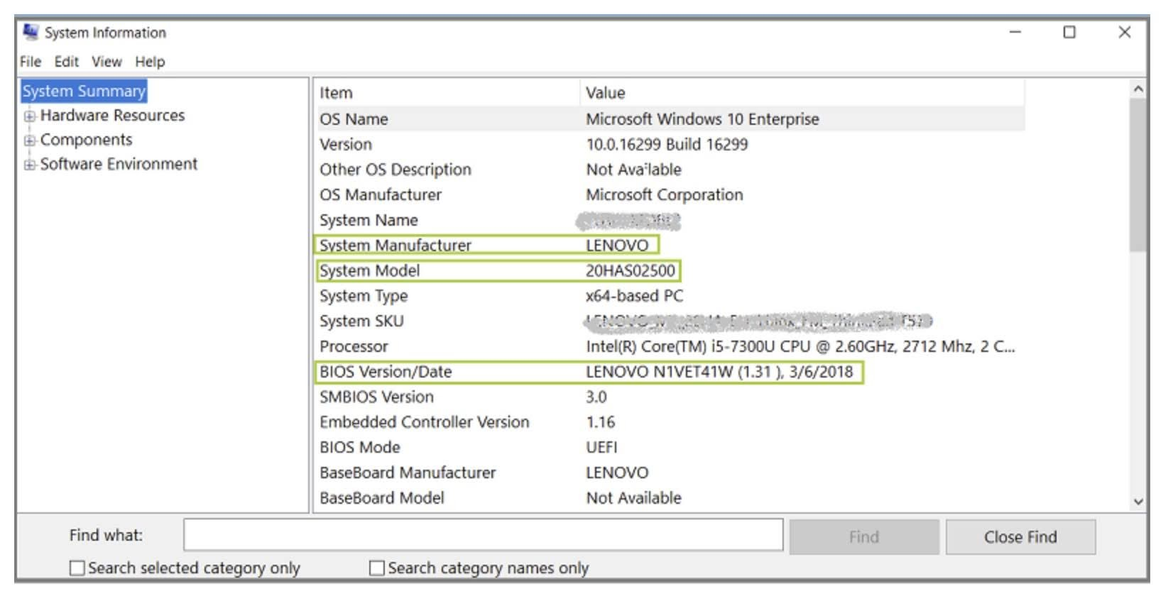 You'll find the motherboard manufacturer, model, and BIOS version under the System Summary section.