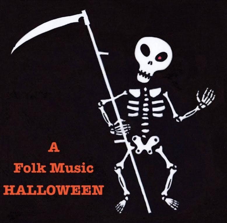 Dancing skeleton on black background holding a scythe