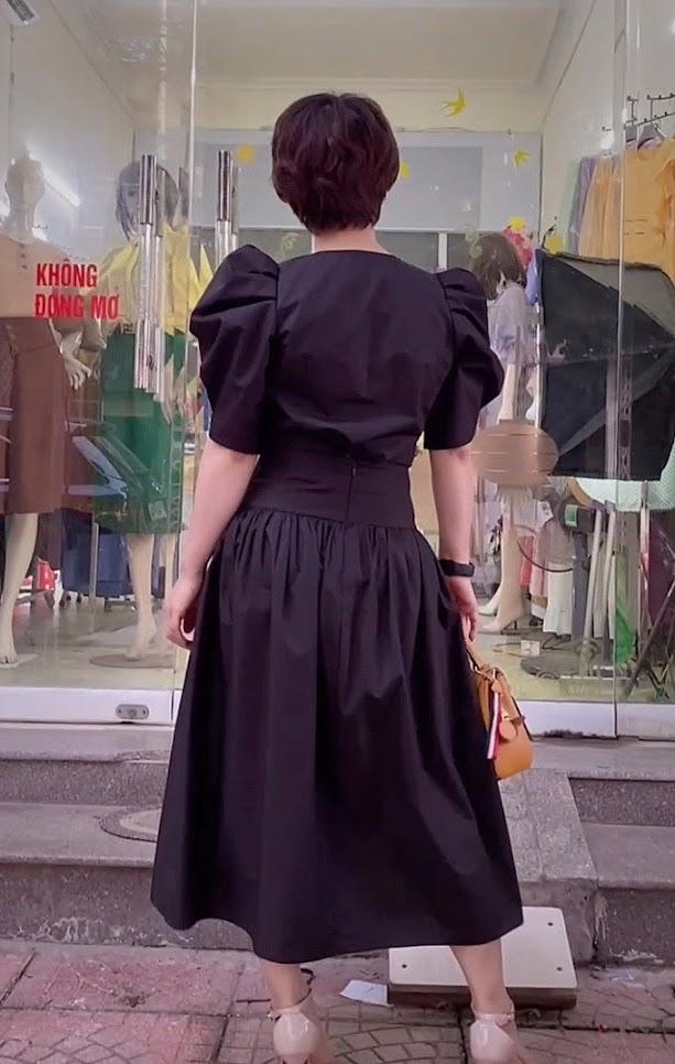 áo croptop nữ tay bống phối đồ chân váy xòe midi thời trang thủy đà nẵng