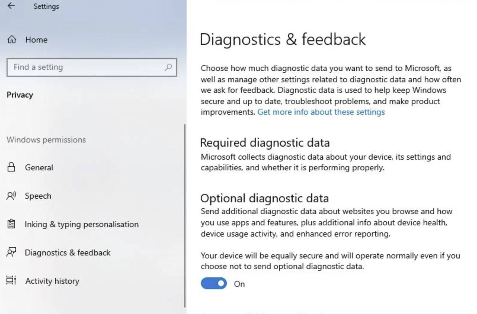 Make sure the Optional diagnostic data is toggle On.