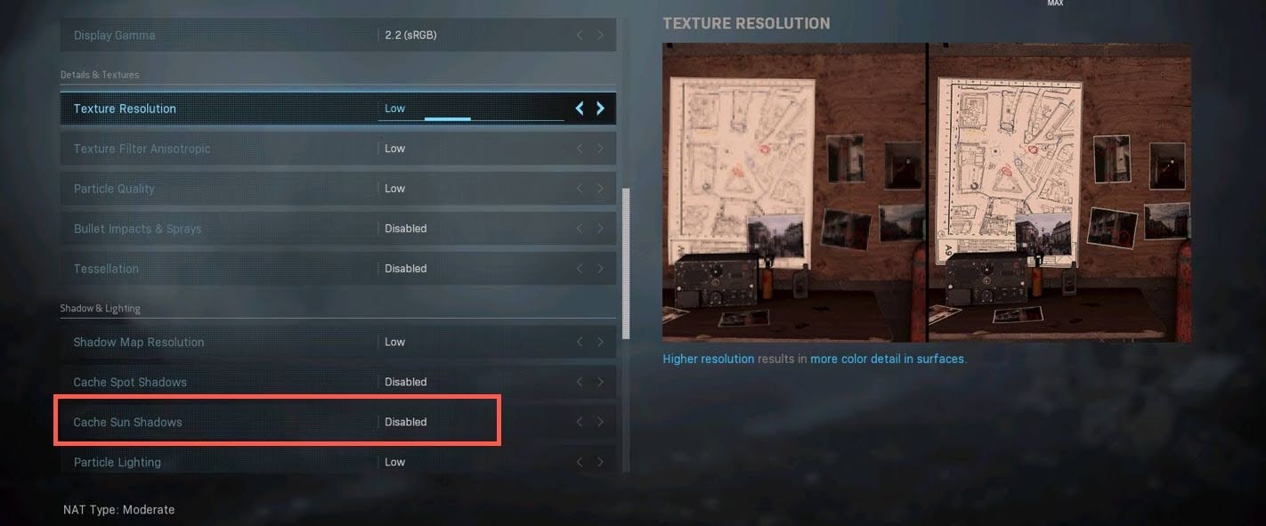 Search for Cache Sun Shadows and click on the disable it option.