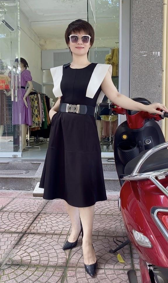 Váy xòe liền dáng midi công sở v770 thời trang thủy đà nẵng
