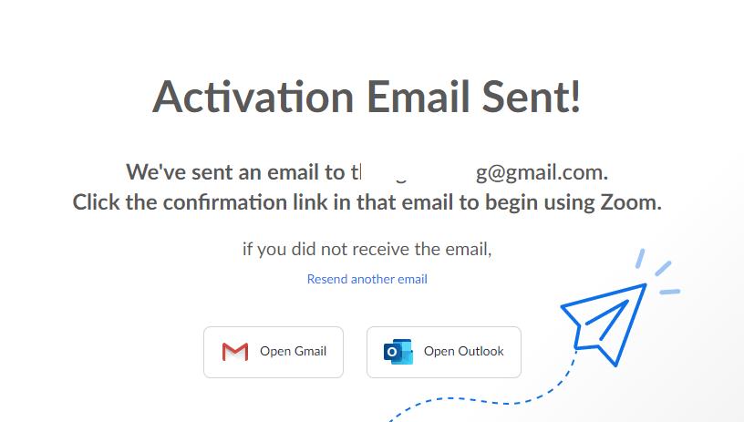 Một màn hình thông báo báo kích hoạt email hiện ra