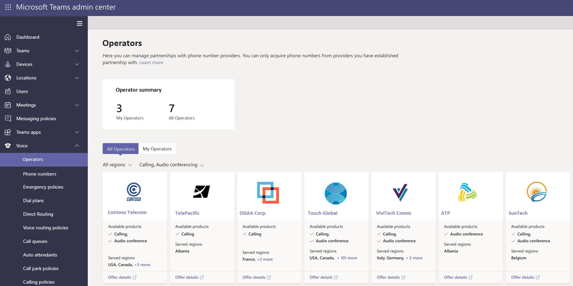 From the Voice section in Teams Admin Center, a new Operators section will be available to enable Teams administrators to select the operator of their choice from one to multiple countries.