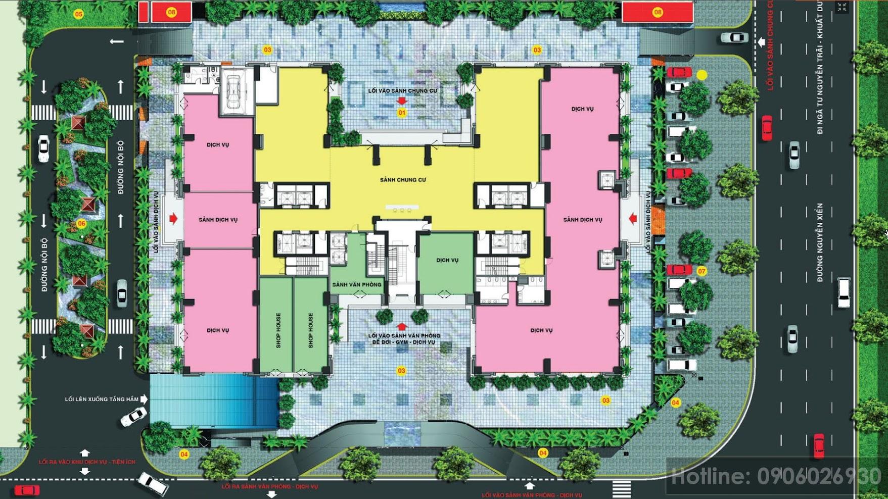 Mặt bằng tầng 1, lối vào căn hộ riêng biệt, tăng mức độ an ninh
