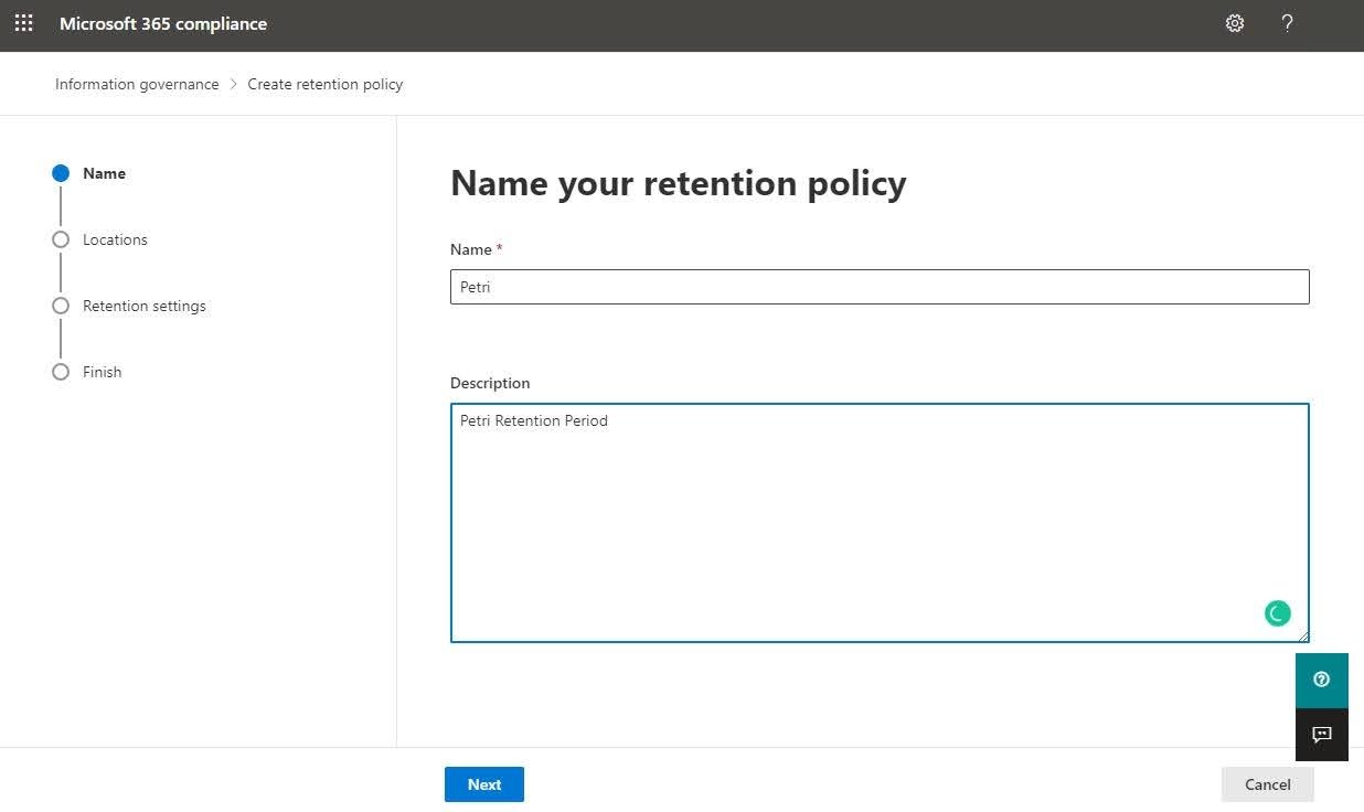 Enter the Name and Description for the retention policy then press on the Next button.
