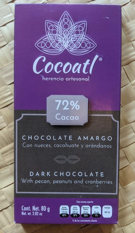 72% cocoatl pecan, peanut, cranberries bar