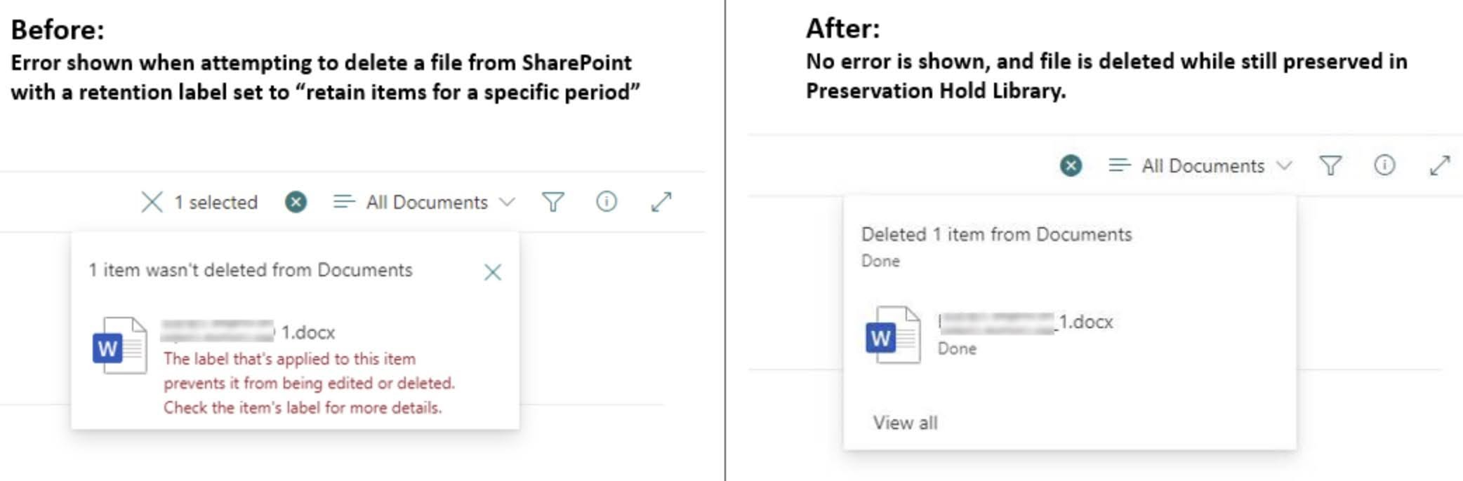 """When deleted, these files will still be preserved for compliance purposes by moving a copy of them to the """"Preservation Hold Library"""" of the site where they can be accessed by eDiscovery and other compliance solutions."""