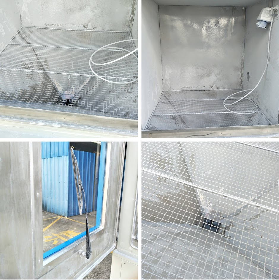 The physical picture of the test area of the IEC 60529 sand and dust test chamber