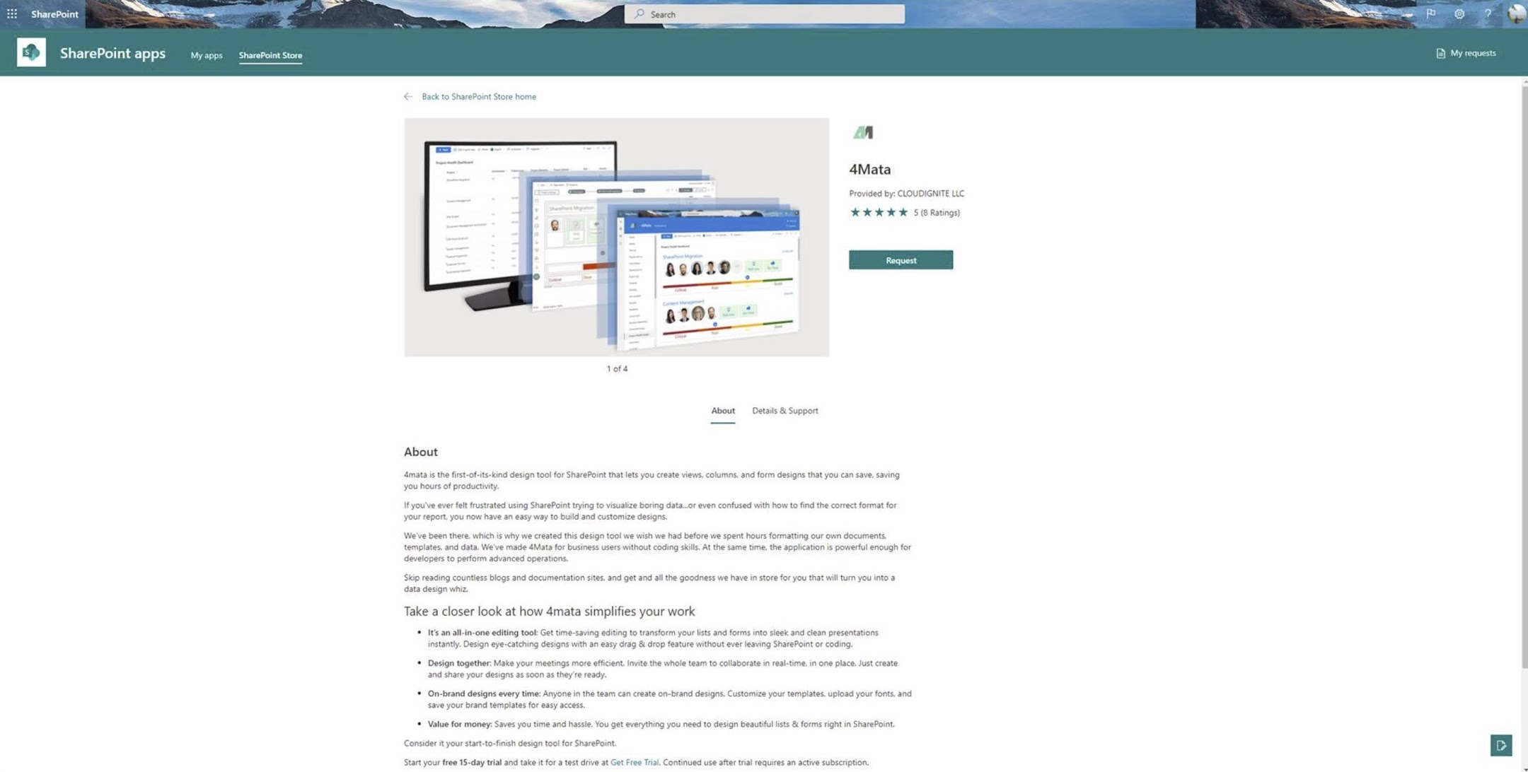 SharePoint App Details page