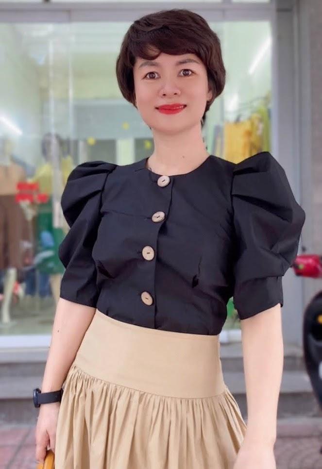 áo croptop nữ tay bống phối đồ chân váy xòe midi thời trang thủy hà nội