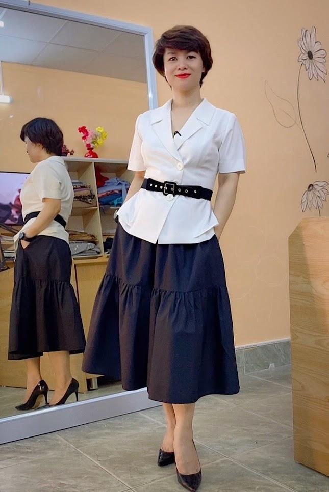 áo peplum che bụng phối đồ công sở chân váy xòe midi mặc đẹp thời trang thủy hà nội