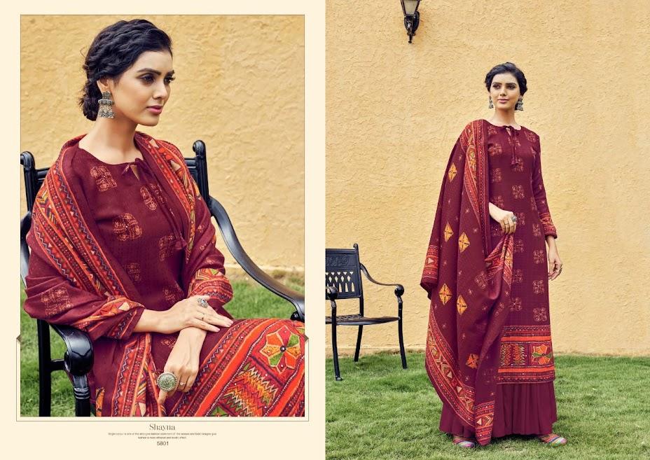 Buy Vridhee Fashion Shayna Pashmina Dress Material Catalog O