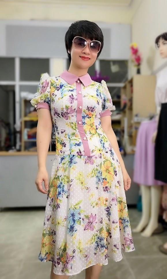 váy xòe midi công sở nữ mặc đẹp thời trang thủy nam định