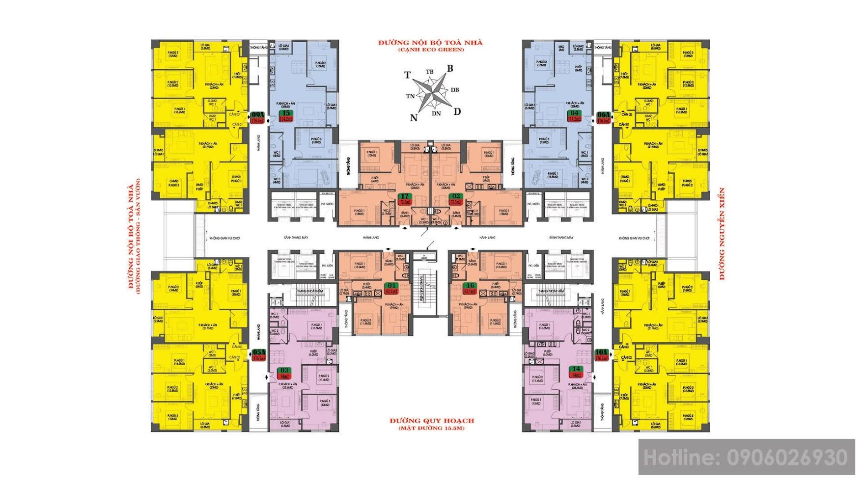 Mật độ 8 thang máy / 16 đến 12 căn / sàn