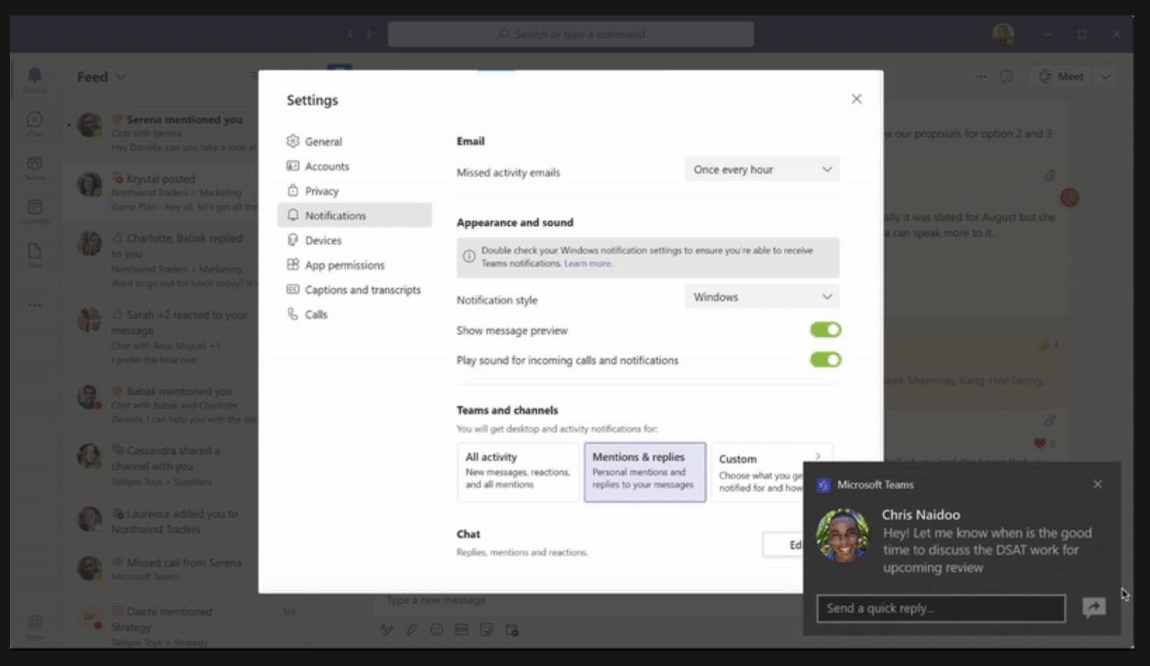 MC271919: New default native notification style setting for new Microsoft Teams users