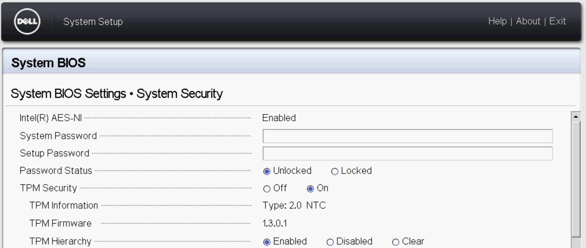 Enable TPM 2.0 for Dell motherboard: Set the TPM Security option to On.