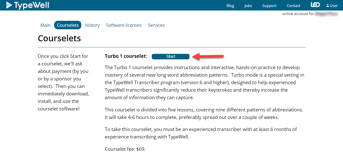 screenshot of courselet start page