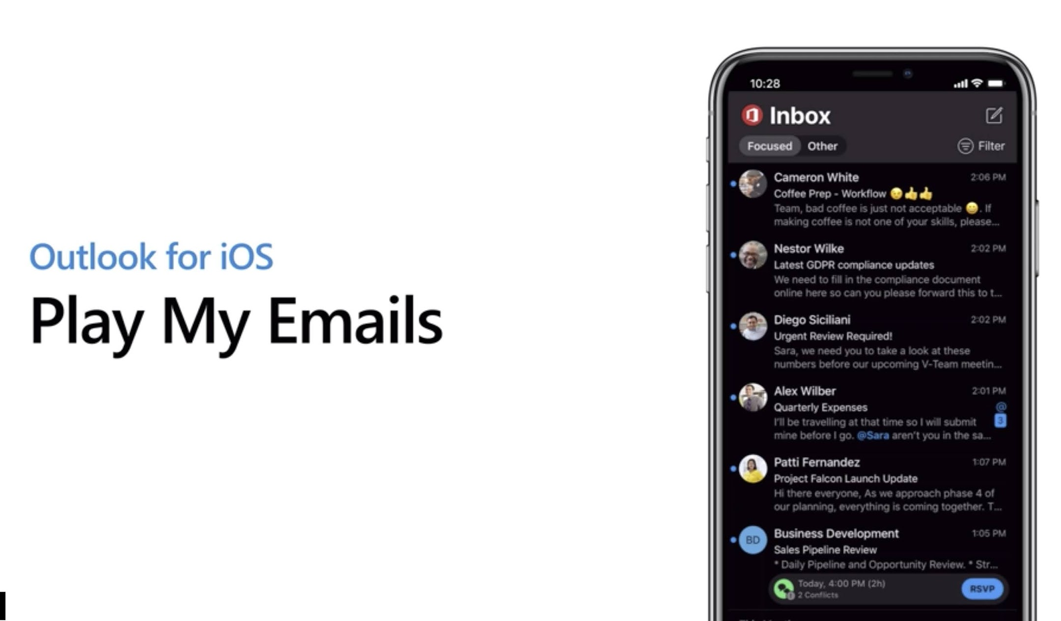 82074: Play My Emails Support Play Conversation with Cortana in Microsoft Outlook for iOS