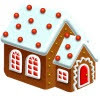 Gingerbread house with gumdrop decorated roof and red doors and windows.