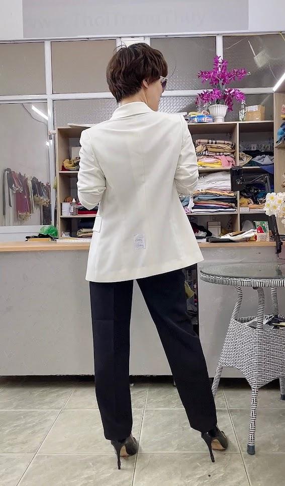 áo vest nữ cổ sam dáng dài suông eo mặc đẹp thời trang thủy hải phòng 4