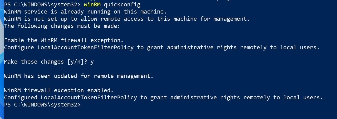 WinRM firewall exception enabled. Configured LocalAccountTokenFilterPolicy to grant administrative rights remotely to local users.