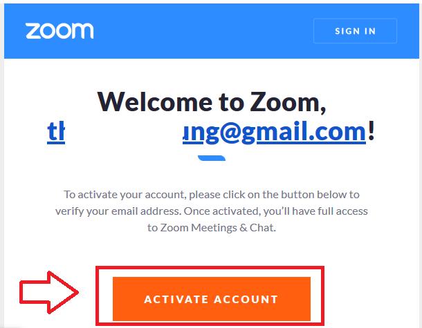 Mở Email và nhấn ACTIVE ACCOUNT