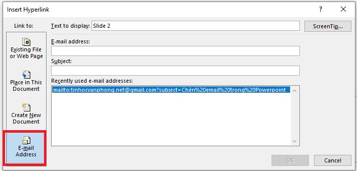 chèn link vào Powerpoint - chèn email trong Powerpoint