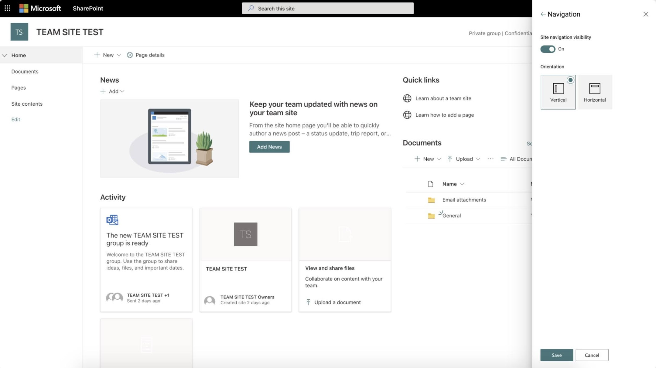 The Horizontal option displays site navigation on the top of the page just below the site header like on a SharePoint communication site